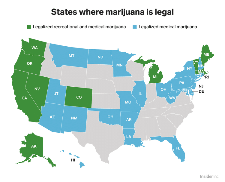 karta na shtatite legalizirali marihuanata cannaroots-bg